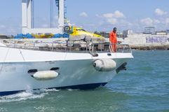 Arbeta på en yacht Arkivbilder
