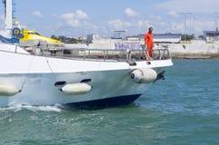 Arbeta på en yacht Royaltyfri Fotografi