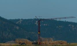 Arbetande Crane Constructing en journalkabin Arkivfoto