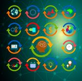 Arbetande hjärna med cirkelsymboler stock illustrationer