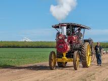 Arbetande Russel Engine ångatraktor på träskotulpanlantgården royaltyfri fotografi
