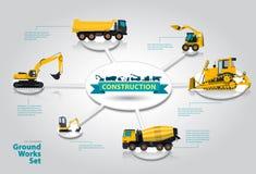 Arbetar den infographic isometriska uppsättningen för konstruktionsmaskineri av jordning maskiner Arkivbild