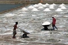Arbetare arbetar på en salt lantgård i Thailand Arkivfoto