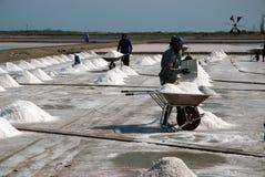 Arbetare arbetar på en salt lantgård i Thailand Royaltyfri Bild