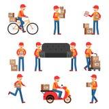 Arbetare av leveransen Olik teckenuppsättning Tjänste- man royaltyfri illustrationer