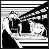 Arbetare diskuterar deras handlingar enligt teckningarna royaltyfri illustrationer