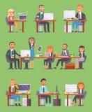 Arbetare eller person för kontor för arbetsplats för folk för Flatr vektoraffär som i regeringsställning arbetar på bärbara dator royaltyfri illustrationer