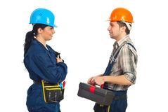 arbetare för constructorkonversationlag Royaltyfri Fotografi