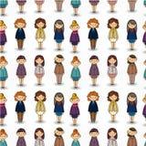 arbetare för kvinna för tecknad filmkontorspatter nätt seamless royaltyfri illustrationer