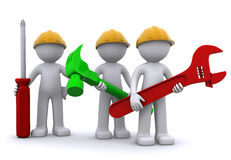 arbetare för lag för konstruktionsutrustning Arkivfoto