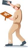 arbetare för plastererdetaljhandlaretrowel royaltyfri illustrationer