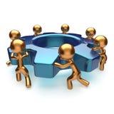 Arbetare för teamworkaffärsprocess startar det roterande kugghjulet stock illustrationer