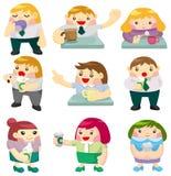 arbetare för tid för tea för tecknad filmsymbolskontor stock illustrationer