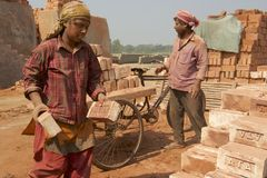 Arbetare flyttar tegelstenar på en fabrik i Dhaka, Bangladesh Royaltyfri Foto