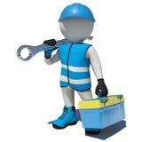 Arbetare i ask och skiftnyckel för hållande hjälpmedel för overaller på vektor illustrationer