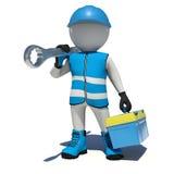 Arbetare i ask och skiftnyckel för hållande hjälpmedel för overaller på stock illustrationer