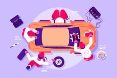 Arbetare i bilservice som kontrollerar medlet royaltyfri illustrationer