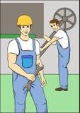 Arbetare i blåa overaller vektor illustrationer