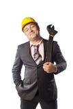 Arbetare i gul hjälm Royaltyfri Foto