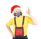Arbetare i har med respiratorn. Royaltyfri Fotografi