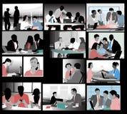 Arbetare i kontor stock illustrationer