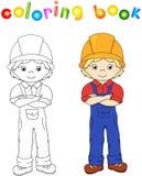 Arbetare i overaller och hjälm för färgläggningdiagram för bok färgrik illustration Lek för barn vektor illustrationer