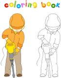 Arbetare i overaller och hjälm med med tryckluftsborren Färga bu royaltyfri illustrationer