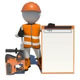 Arbetare i overaller som rymmer den elektriska hålapparaten och royaltyfri illustrationer