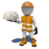 Arbetare i overaller som rymmer den vita hjärnan isolerat stock illustrationer