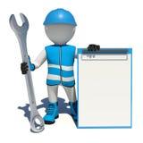 Arbetare i overaller som rymmer skiftnyckeln och skrivplattan royaltyfri illustrationer