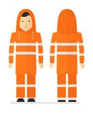 Arbetare i skyddande orange regnrock med det reflekterande bandet royaltyfri illustrationer