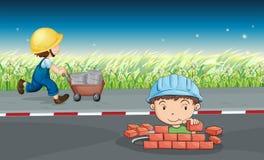 Arbetare i vägen stock illustrationer