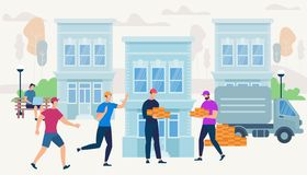 Arbetare kommer med tegelstenar av Van Car f?r att bygga huset stock illustrationer