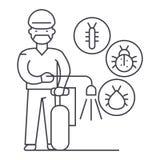 Arbetare linje symbol, tecken, illustration för feljagarevektor på bakgrund, redigerbara slaglängder vektor illustrationer