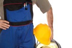 Arbetare med blåttarbetskläder Royaltyfri Fotografi