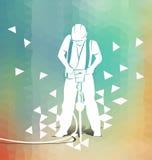 Arbetare med en tryckluftsborr på polygonal bakgrund royaltyfri illustrationer