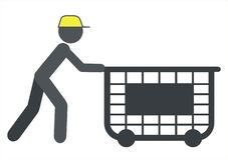 Arbetare med en vagn stock illustrationer