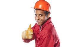 Arbetare med hjälmen och handskar Arkivbilder