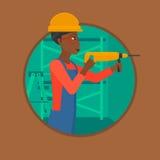 Arbetare med illustrationen för vektor för hammaredrillborr vektor illustrationer