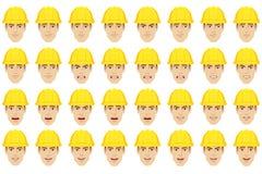 Arbetare med olika sinnesrörelser och ansiktsuttryck stock illustrationer