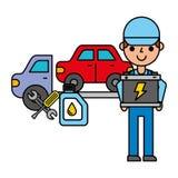 Arbetare med service för reparation för lastbil för batterikran automatisk stock illustrationer