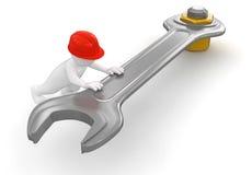 Arbetare med skiftnyckeln och bulten (den inklusive snabba banan) royaltyfri illustrationer
