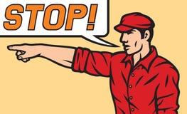 Arbetare med stoppanförandebubblan Arkivbild