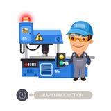 Arbetare och malningmaskin stock illustrationer