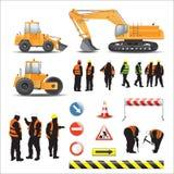 Arbetare och maskiner för vägkonstruktion stock illustrationer
