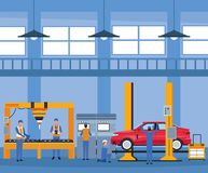Arbetare på bilfabrik vektor illustrationer