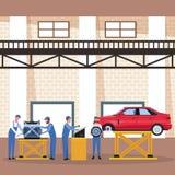 Arbetare på bilfabrik royaltyfri illustrationer