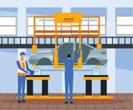 Arbetare på bilfabrik stock illustrationer