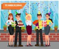 Arbetare på den företags partivektorillustrationen royaltyfri illustrationer