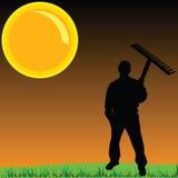 Arbetare på en gräsvektorillustration vektor illustrationer